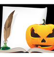 Pumpkin head and writing equipment vector image vector image