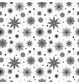 seamless pattern black silhouettes snowflakes set vector image vector image