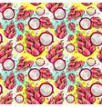 seamless pattern pitaya fruits exotic ornament vector image vector image