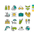 set summer holiday linear colored icons vector image