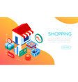 shopping and delivery - modern colorful isometric vector image vector image