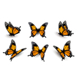 Six butterflies set vector image vector image