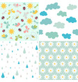 spring patterns seamless backgrounds vector image