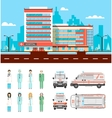 Street with clinic vector image vector image