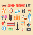 summer flat icons items set concept vector image vector image
