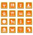 sweden travel icons set orange square vector image vector image