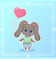 sweet rabbit little cute kawaii anime cartoon vector image vector image