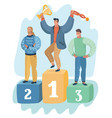 three men standing on podium ceremony of awards vector image vector image