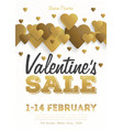 valentines day sale vintage flyer background with vector image vector image