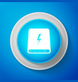 white power bank icon isolated on blue background vector image vector image