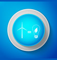 white wind turbine and light bulb with leaves icon vector image