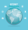 world planet with internet communication vector image vector image