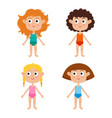 young european girls body template - front girls vector image