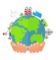 hand holds green planet vector image