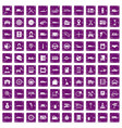 100 auto icons set grunge purple vector image vector image