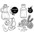 black and white set organic ingredients vector image vector image