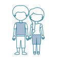blue contour with color sections faceless couple vector image vector image