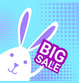 bunny hold big sale sign for easter holiday vector image