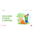 camping landing page template man character spend vector image