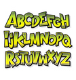 Cartoon comic doodle graffiti alphabet vector image vector image