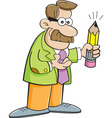 Cartoon teacher holding a pencil vector image vector image