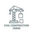 civil construction crane line icon civil vector image vector image
