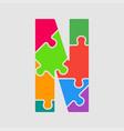 color jigsaw font puzzle pieces letter m vector image