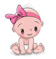 cute cartoon baby girl vector image vector image