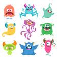 cute cartoon monsters set cartoon monsters vector image vector image