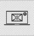 email envelope message on laptop in flat style on vector image vector image