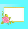 empty frame decorated pink daisy flower bud vector image