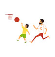 father and son playing basketball flat vector image vector image