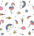 flamingo rainbows and stars seamless pattern vector image vector image