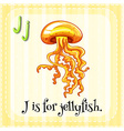 Flashcard letter J is for jellyfish vector image vector image