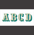 folk alphabet ornamental floral letter a b c d vector image