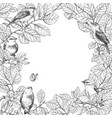 frame with birds on branches vector image