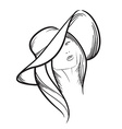 Hand drawn model woman icon vector image vector image