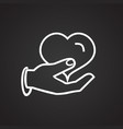 hand holding heart thin line on black background vector image