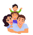 Happy family dad mom daughter and son vector image vector image