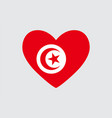 heart in colors of the tunisia flag vector image vector image