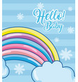 hello baby card with cartoons vector image