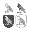 heraldic shields with falcon vector image vector image