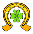 horseshoe and four leaf clover icon icon cartoon vector image