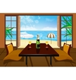 Hotel room and beach landscape vector image vector image