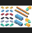 isometric car bus truck and train set vector image vector image