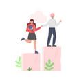man helping woman to climb up on column columns vector image vector image