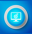 monitor and gears icon isolated on blue background vector image vector image
