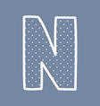 N alphabet letter with white polka dots on blue vector image