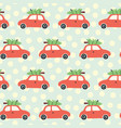 pattern car and christmas tree on the roof vector image vector image