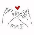 promise outline with red heart concept vector image vector image